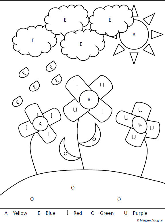 vowel coloring pages - photo#8