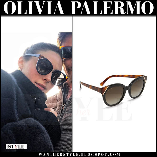 Olivia Palermo with black geometric detail sunglasses salvatore ferragamo what she wore april 2017