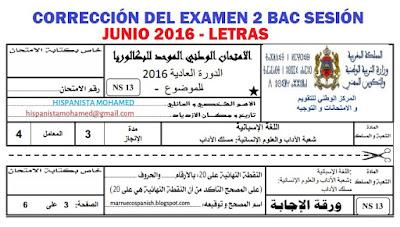 Corrección del examen de ELE para 2do de bachillerato opción letras - sesión junio 2016.