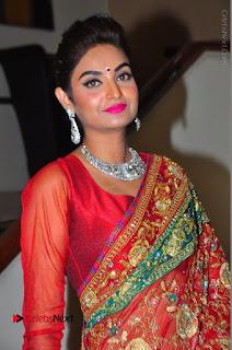 Model Sharon Fernandes Stills in Red Saree at Trendz Exhibition Launch  0009.JPG