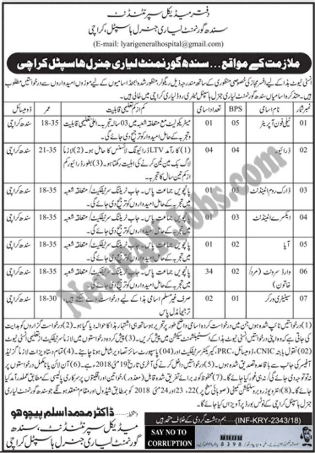 latest-2018-jobs-in-liyari-general-hospital-govt-of-sindh
