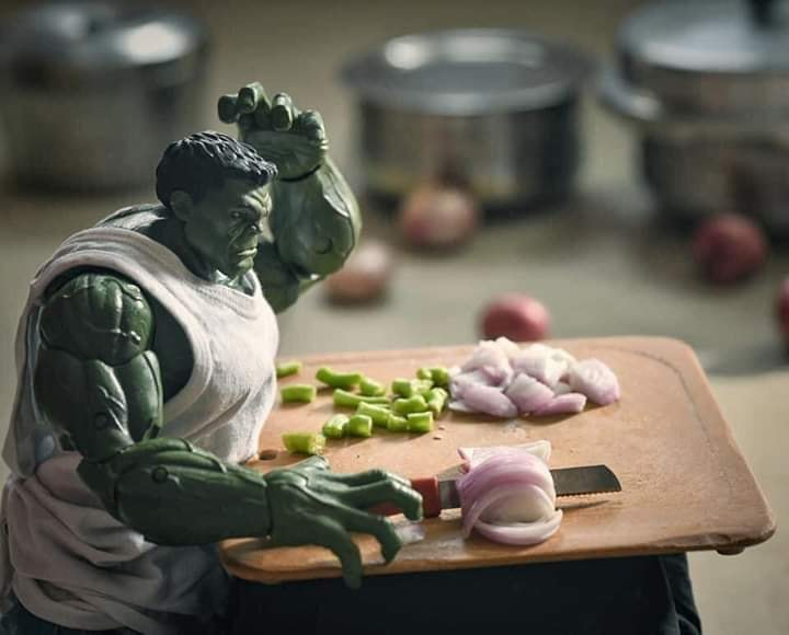 Super Hero Hulk chopping onions