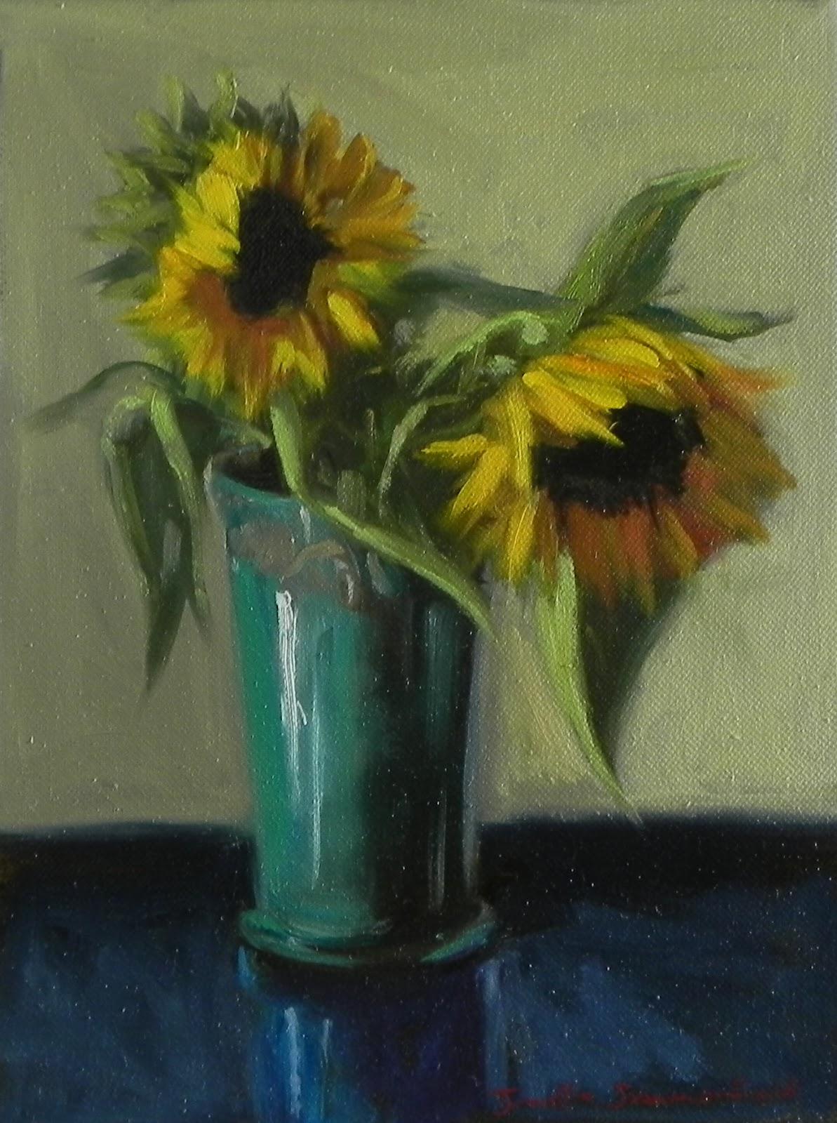 Jonelle Summerfield Oil Paintings: Sunflowers in Blue Vase
