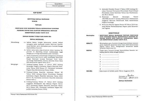 Format SK Penetapan Guru Tenaga Kependidikan Penerima Honor Dana BOS Kemenag