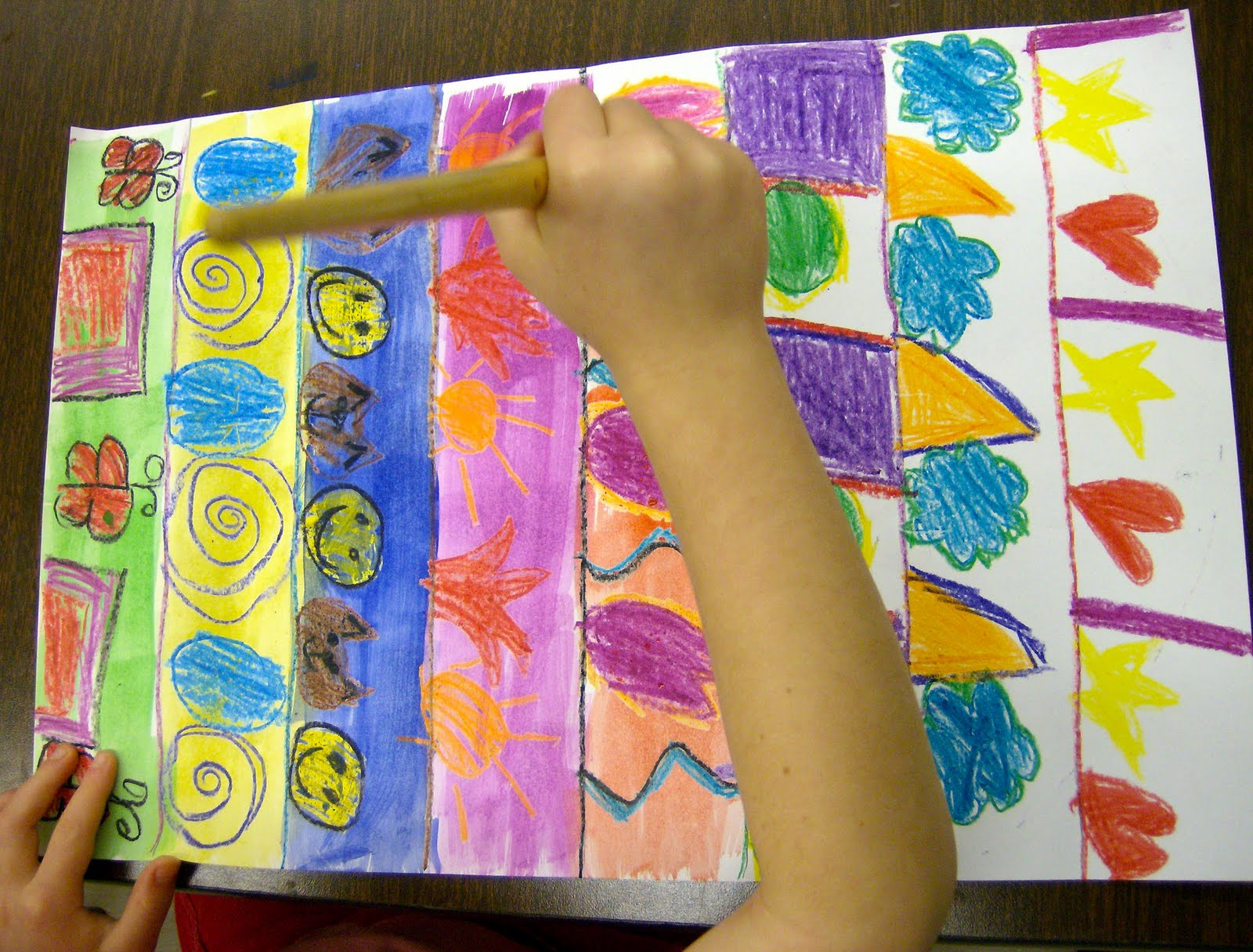 Zilker Elementary Art Class Kinder Pattern Paintings