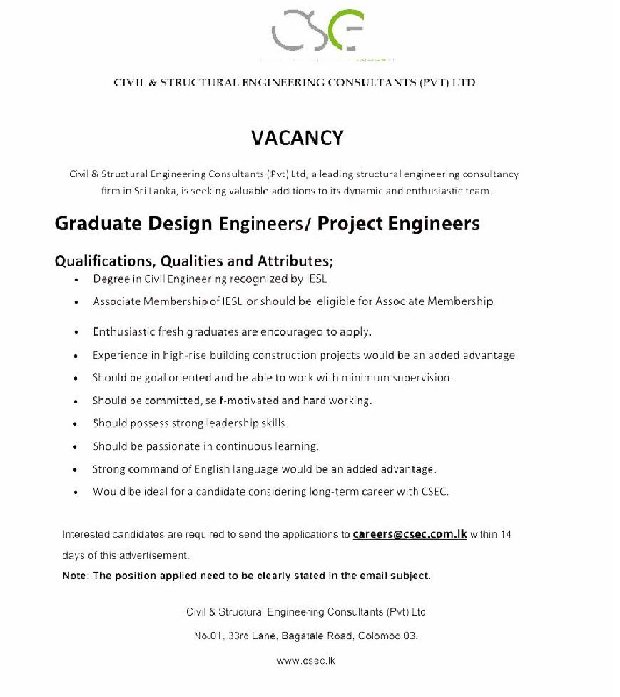 Graduate Design Engineers Project Engineer Jobspot