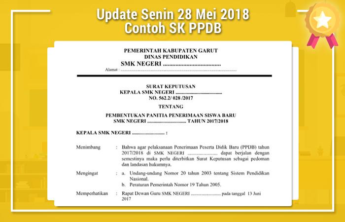 Update Senin 28 Mei 2018 Contoh SK PPDB