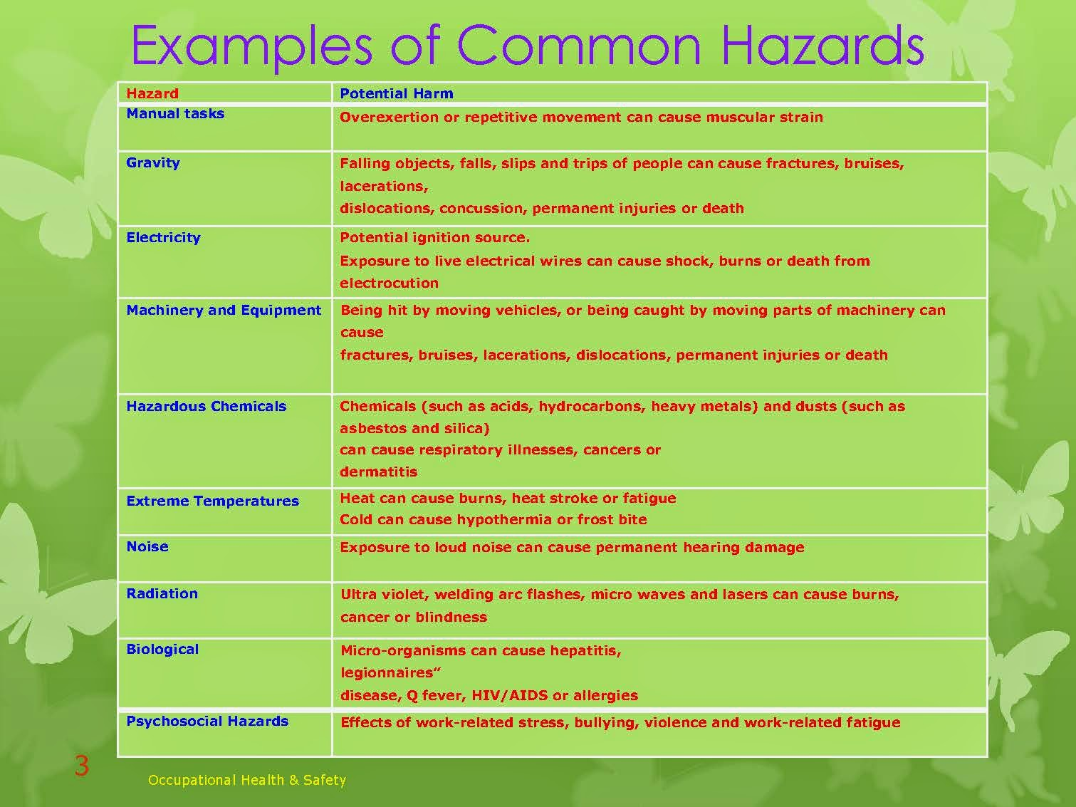 EXAMPLES OF COMMON HAZARDS