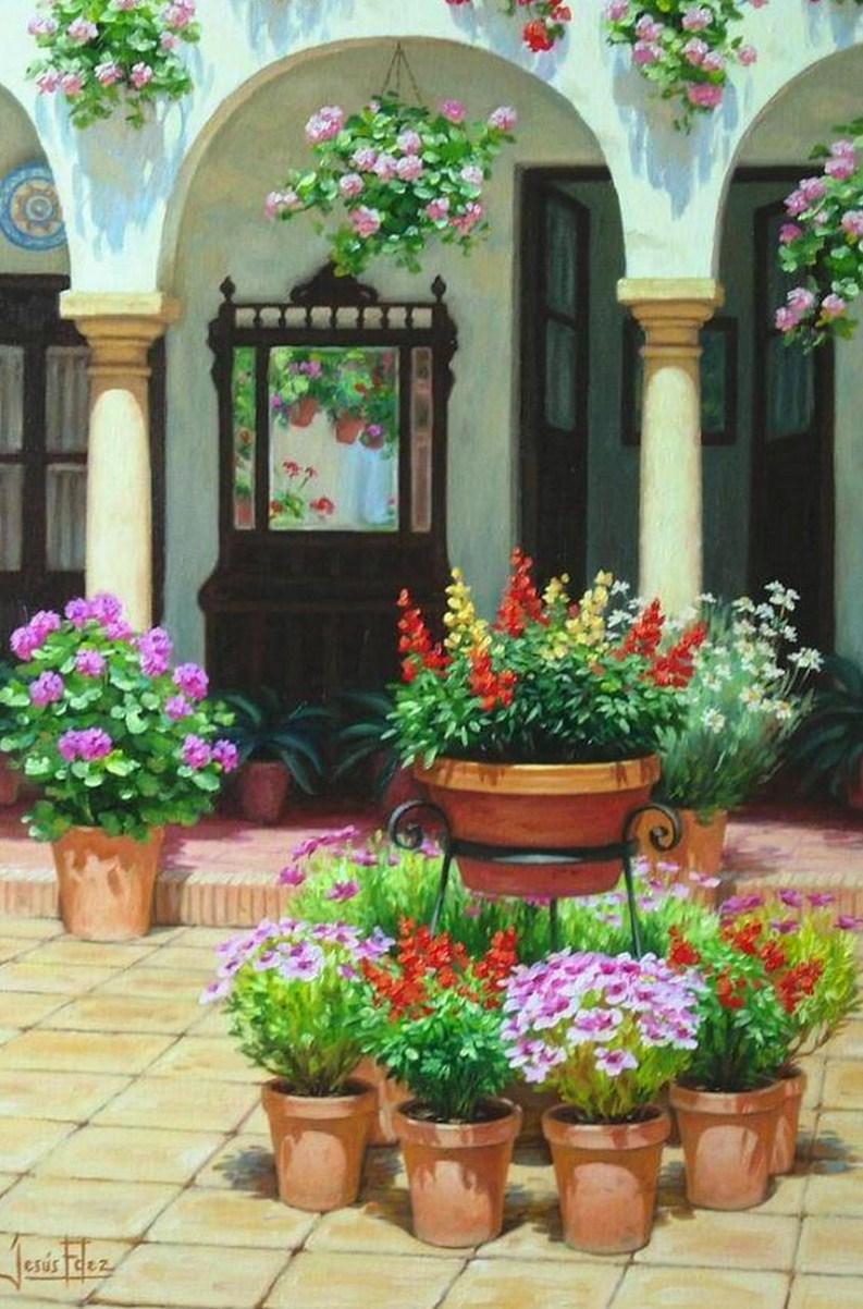 Cuadros modernos pinturas y dibujos cuadros florales al leo - Patios interiores andaluces ...
