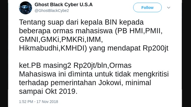 Dituduh Terima Suap Rp200 Juta per Bulan agar Tak Kritik Jokowi, HMI akan Lapor Polisi