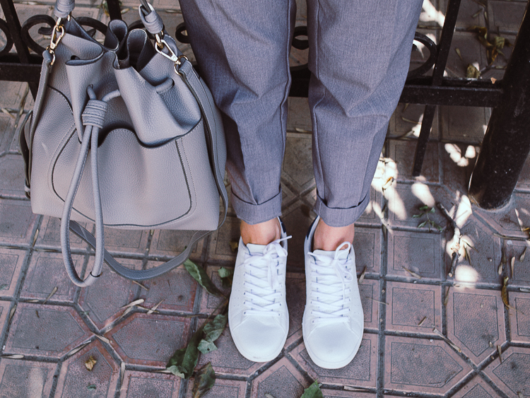 fashion blogger diyorasnotes outfit grey pants zara bag asos grey t-shirt