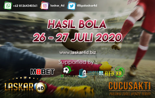 HASIL BOLA JITU TANGGAL 26 – 27 JULI 2020