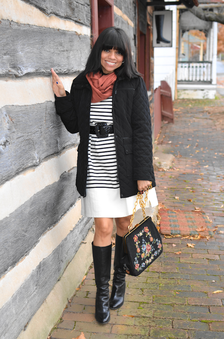Puffer Long Jacket Striped Sweater Dress Outfit Look