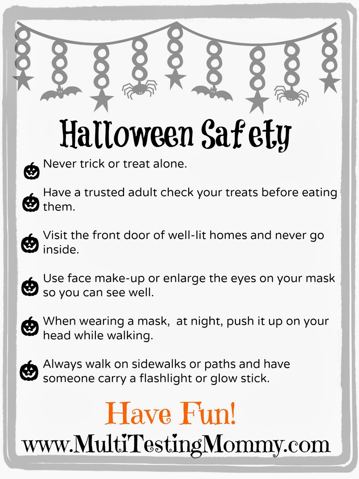 Halloween Safety Tips For Kids Printable