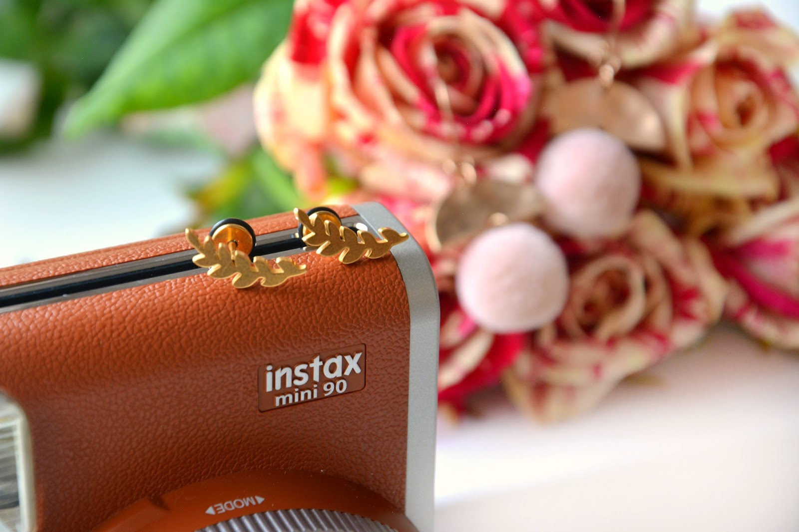 Instax Mini 90 Retro Camera; Happiness Boutique Leafy Fern Stud Earrings; Happiness Boutique Pom Pom Earrings; Marbled Red & Cream Roses