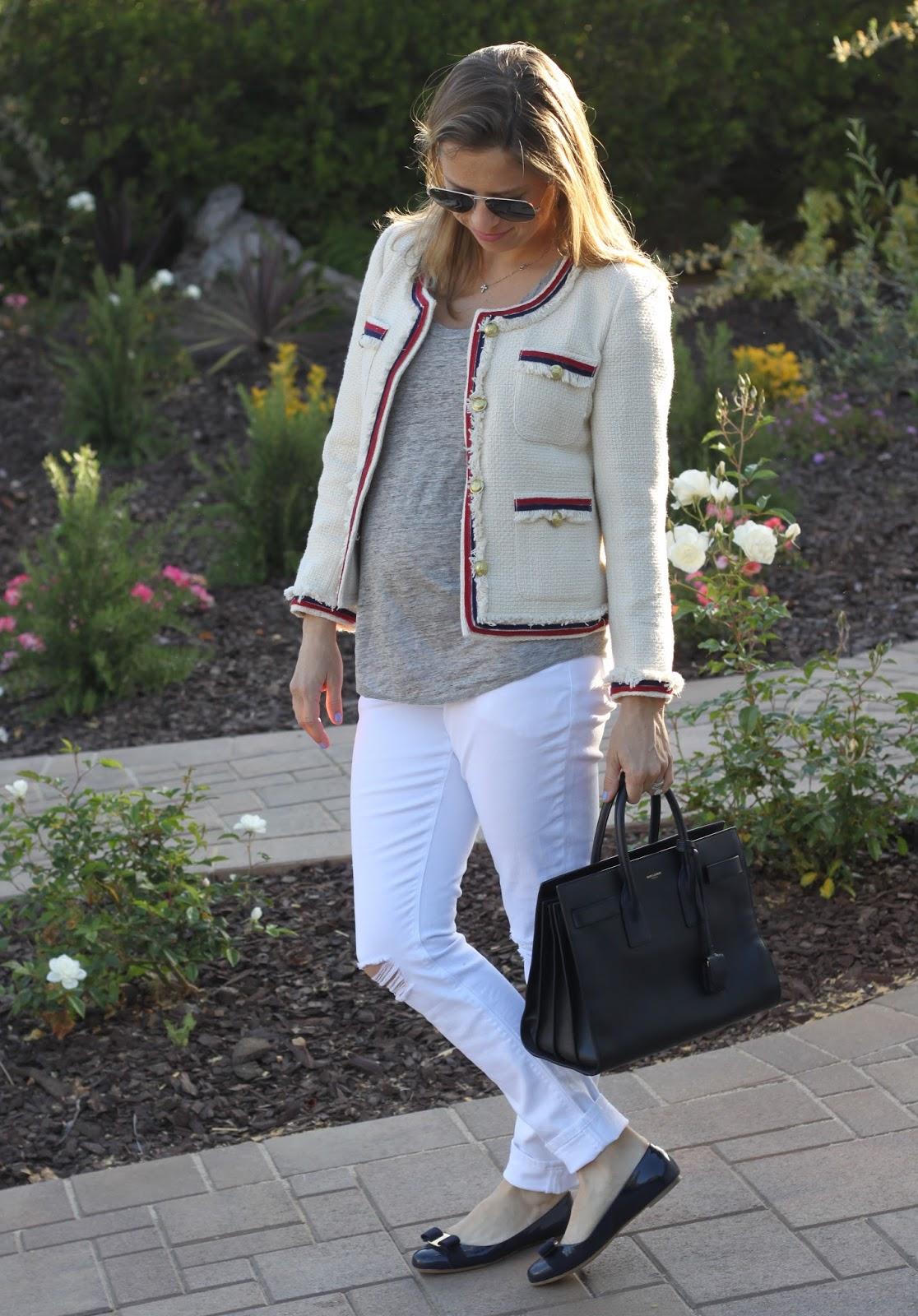 tweed jacket and distressed denim