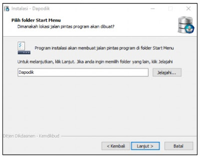 Folder Start Menu aplikasi dapodik 2018b
