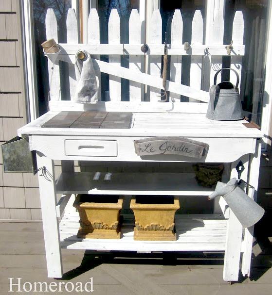 white potting bench