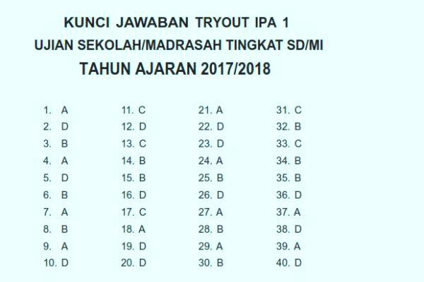 Kunci Jawaban Detik Detik Sd 2019 Ipa Try Out 2 Latihsiswa