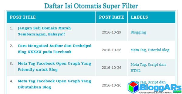 Cara Mudah Membuat Daftar Isi Otomatis Super Filter di Blog