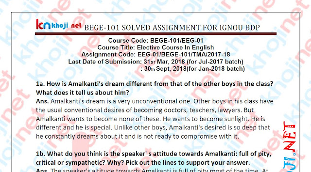 BEGE-101 and EEG-01 solved assignment for ignou bdp 2018