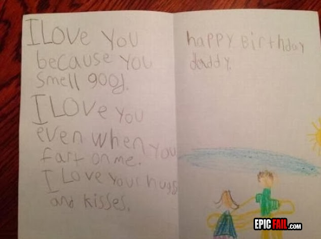 birthday card funny fail I love you even when you fart on me