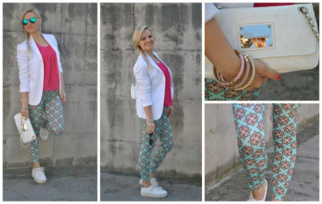 outfit leggings stampati blazer bianco sneakers bianche outfit primaverili outfit maggio 2016 mariafelicia magno fashion blogger blogger italiane