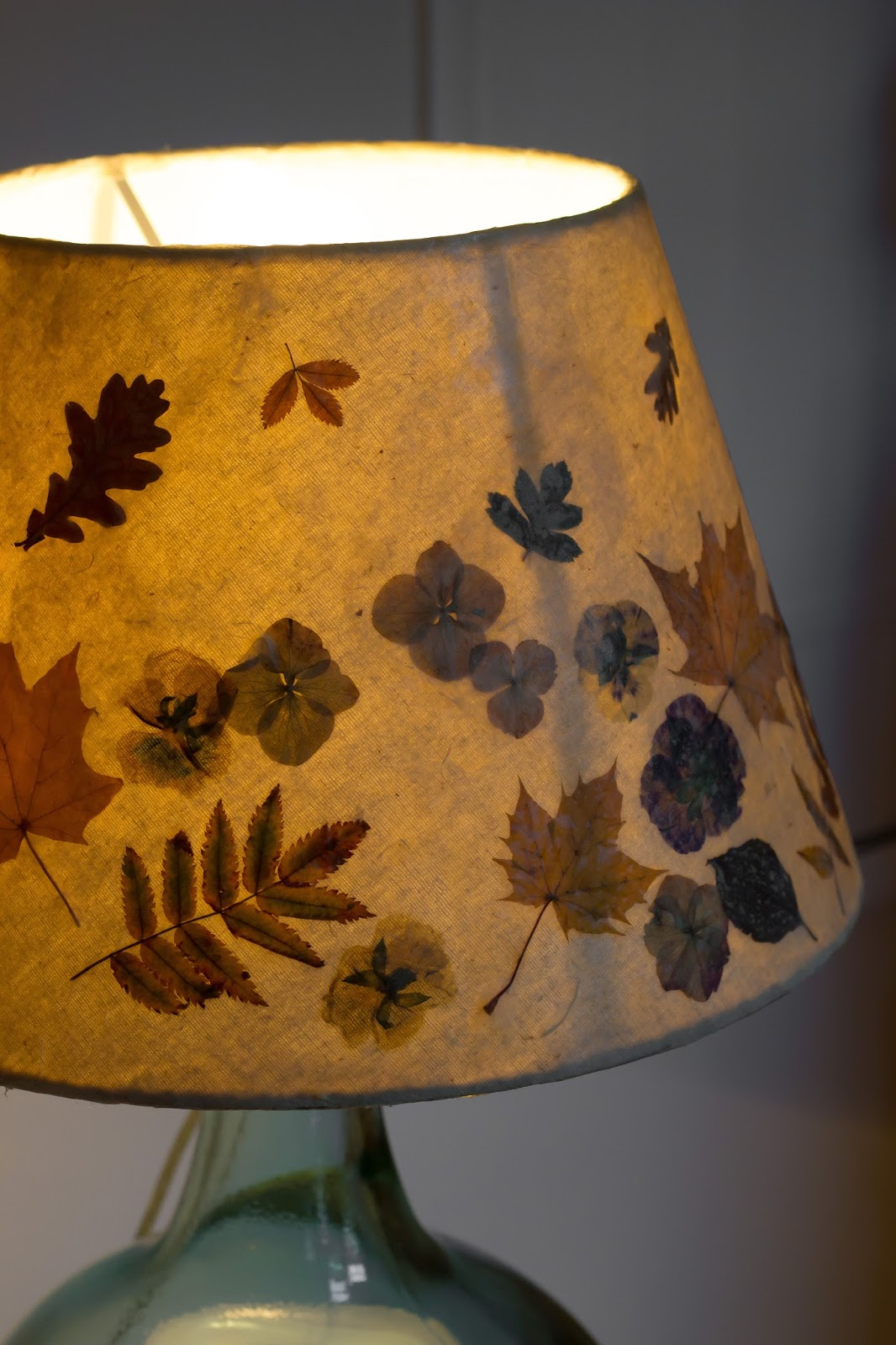 A Handmade Cottage Pressed Leaves And Flower Lampshade