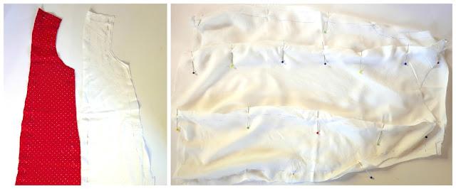 Unión de las piezas del vestido