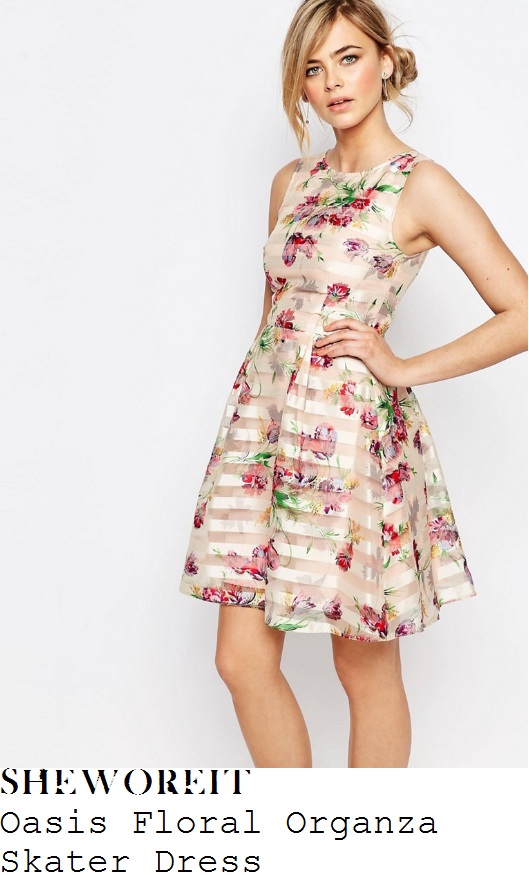 laura-tobin-oasis-nude-cream-red-green-yellow-and-multicoloured-floral-print-sheer-organza-stripe-overlay-sleeveless-fit-and-flare-skater-dress