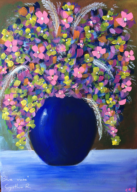 blue flower vase, jarrón azul con flores de colores, acrylic painting on canvas, pintura acrílica en canvas, florero azul,