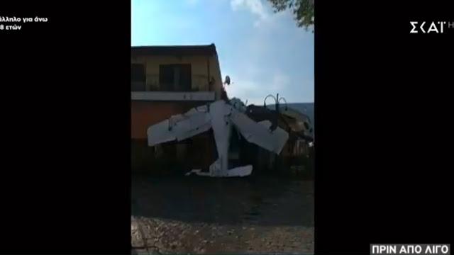 Μονοκινητήριο αεροπλάνο έπεσε στην πλατεία του χωριού Πρώτη Σερρών