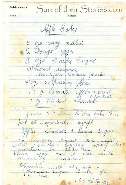 old handwritten recipe