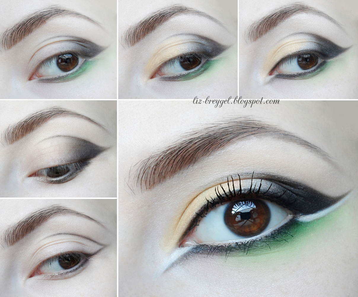 black and green makeup tutorial, step by step evening makeup, double eyeliner