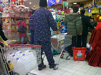 shopping wearing pajamas