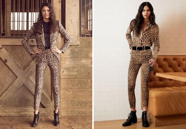 Узкие леопардовые брючные костюмы