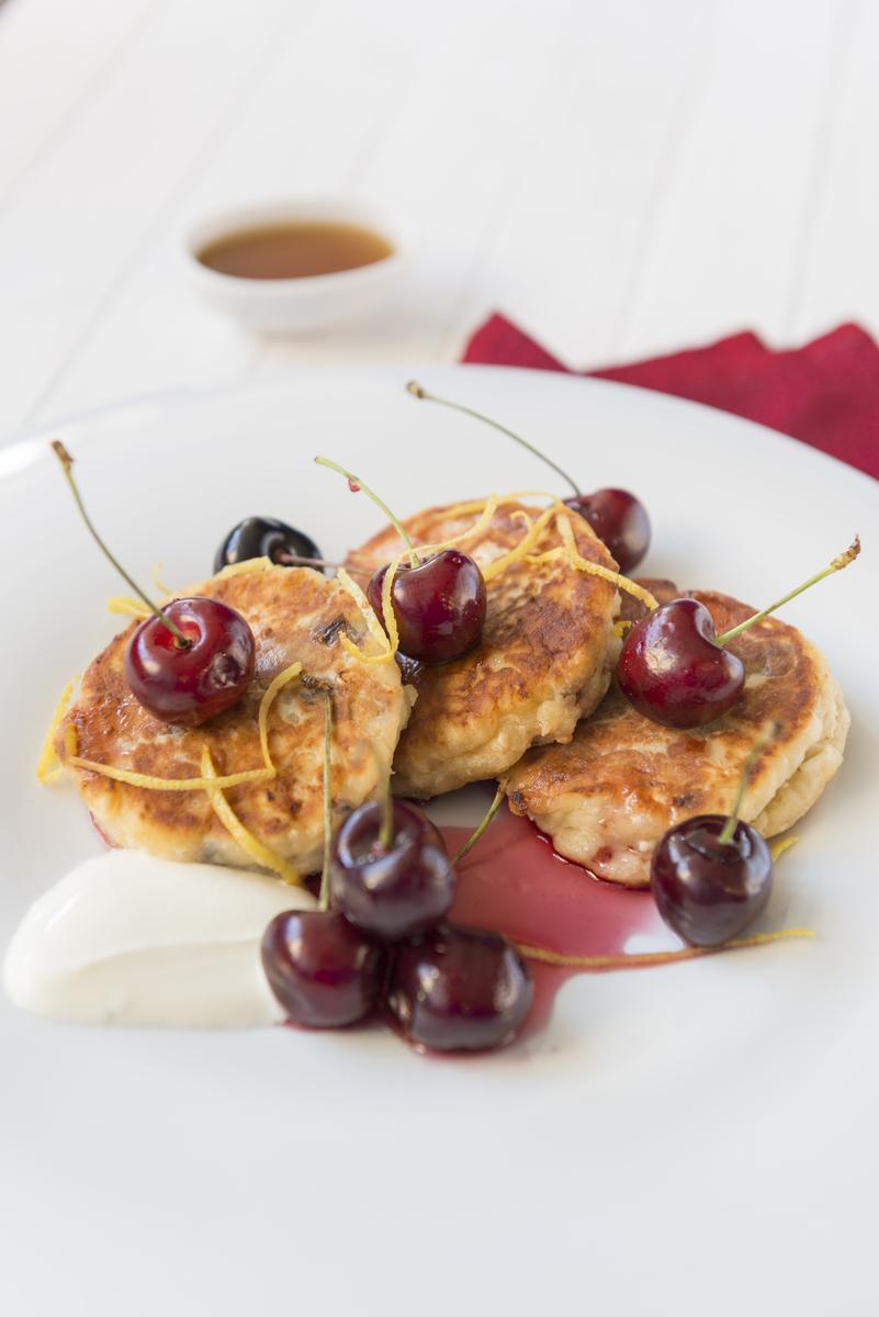 Cream Cheese Fritters, English Summer Maple Cherries
