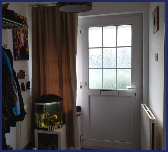 We now have the curtain up in the hallway and it has made an immediate effect on the room.  It has blocked out some light coming through the window but it is also keep the cold out and that is a small price to pay in my opinion.