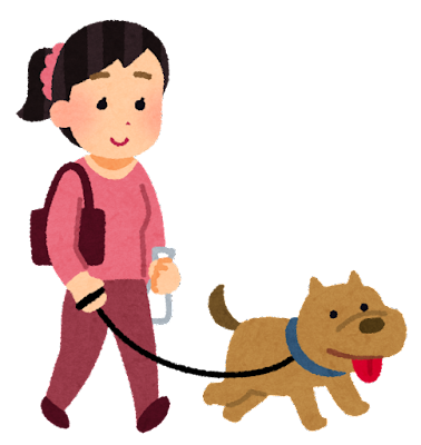 犬の散歩をしているヒトのイラスト(女性)