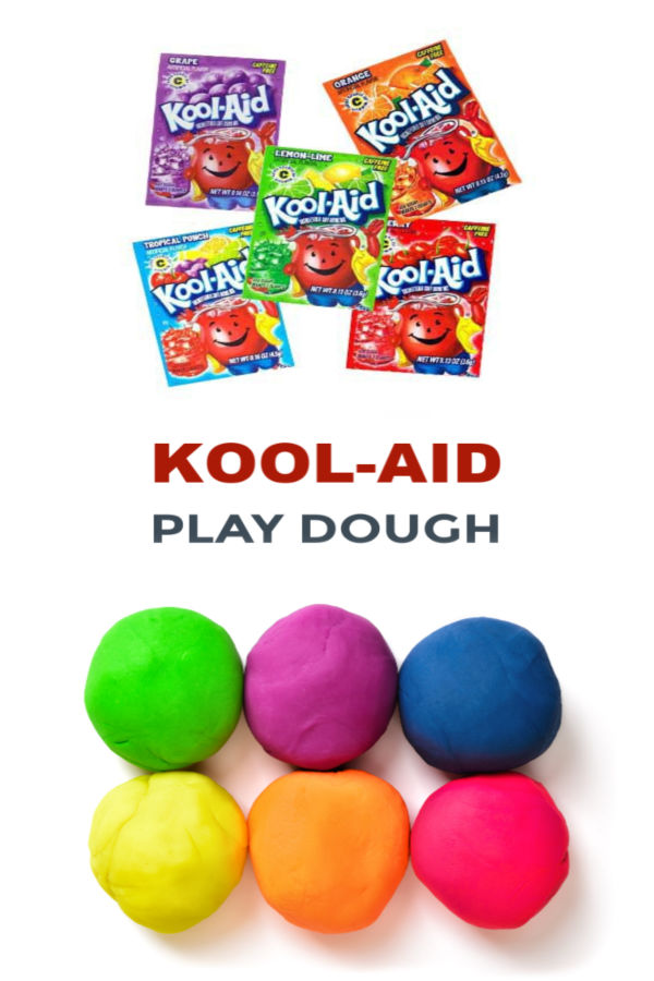 This play dough recipe requires no cooking and is made using Kool-aid!  The play dough is easy to make, taste-safe, and you do not need cream of tartar! #playdoughrecipe #playdough #koolaidplaydoughrecipe #koolaidplaydough #playdoughrecipenocreamoftartar #playdoughrecipenocook #playdoughrecipeeasy #koolaidplaydoughrecipenocook #nocookplaydough