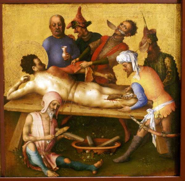 Martyrdom of St. Bartholomew by Stefan Lochner, Macabre Paintings, Freak Art, Freak Paintings, Horror Picture, Terror Pictures
