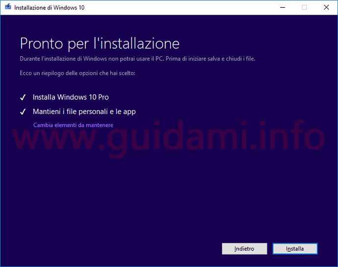 Media Creation Tool Windows 10 build 17763 schermata Pronto per l'installazione