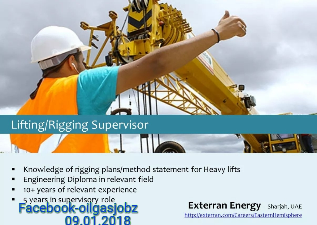 Oil and Gas Jobs: Lifting/Rigging Supervisor Job in Sharjah UAE