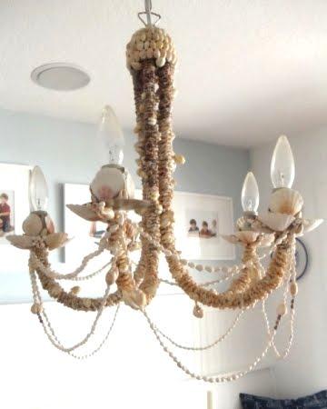 homemade shell chandelier