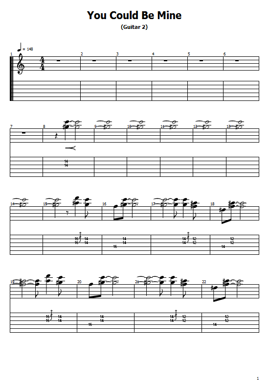 You Could Be Mine Tabs Guns N' Roses - How To Play You Could Be Mine On Guitar Tabs & Sheet Online