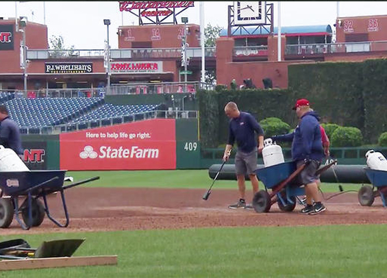 Phillies' grounds crew works on field at Citizens Bank Park