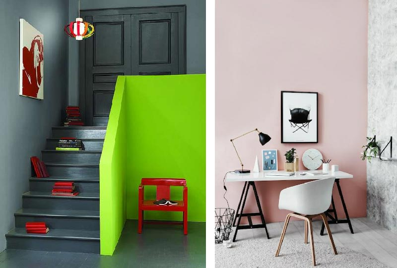 pareti color lime e rosa