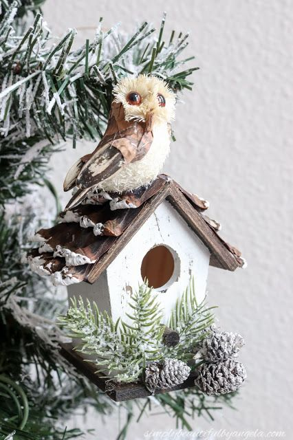 DIY Woodland birdhouse Christmas ornament
