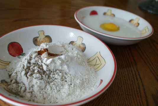 Ingredients for breading chicken