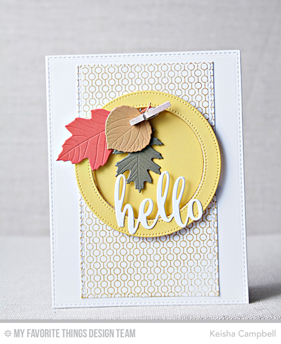 Handmade card from Keisha Campbell featuring Lined Up Dots Background stamp, Thanks & Hello, Falling Leaves, Blueprints 16, and Blueprints 23 Die-namics #mftstamps